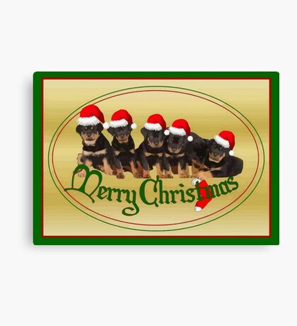 Vector Merry Christmas Rottweiler Puppies Greeting Card Canvas Print