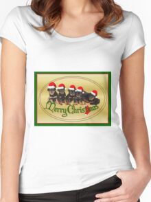 Vector Merry Christmas Rottweiler Puppies Greeting Card Women's Fitted Scoop T-Shirt