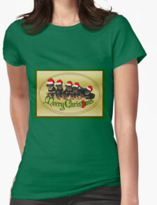 Vector Merry Christmas Rottweiler Puppies Greeting Card Womens Fitted T-Shirt
