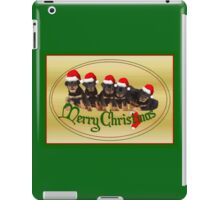 Vector Merry Christmas Rottweiler Puppies Greeting Card iPad Case/Skin