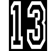 13, TEAM SPORTS, NUMBER 13, THIRTEEN, THIRTEENTH, ONE, THREE, Competition, Unlucky, Luck, WHITE Photographic Print