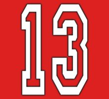 13, TEAM SPORTS, NUMBER 13, THIRTEEN, THIRTEENTH, ONE, THREE, Competition, Unlucky, Luck, WHITE Kids Tee