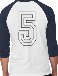 5, TEAM SPORTS, NUMBER 5, FIFTH, FIVE, Competition, WHITE Men's Baseball ¾ T-Shirt