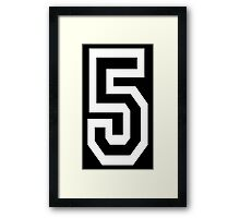 5, TEAM SPORTS, NUMBER 5, FIFTH, FIVE, Competition, WHITE Framed Print