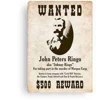 Johnny Ringo Wanted Poster Canvas Print