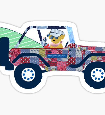 Preppy Jeep Golden Retriever Puppy - Beach Vacation Sticker