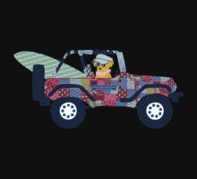 Preppy Jeep Golden Retriever Puppy - Beach Vacation One Piece - Short Sleeve