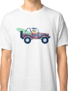 Preppy Jeep Golden Retriever Puppy - Beach Vacation Classic T-Shirt