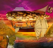 Steampunk - Blimp - Everlasting wonder by Mike  Savad