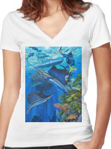 Sailfish Reef Women's Fitted V-Neck T-Shirt