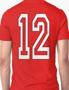 12, TEAM SPORTS, NUMBER 12, TWELVE, TWELFTH, Competition, WHITE T-Shirt