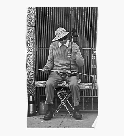 Chinatown Musician with His Erhu Instrument Poster