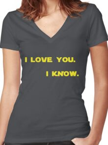 """""""I know."""" Women's Fitted V-Neck T-Shirt"""