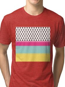 Hipster Polka Dots and Color Blocks Tri-blend T-Shirt