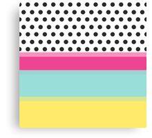 Hipster Polka Dots and Color Blocks Canvas Print