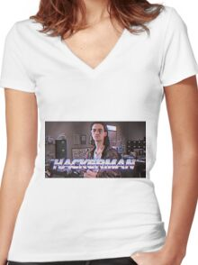 Hackerman Poster Women's Fitted V-Neck T-Shirt