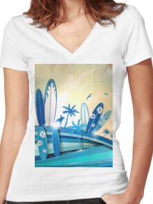 surfboard  background  Women's Fitted V-Neck T-Shirt