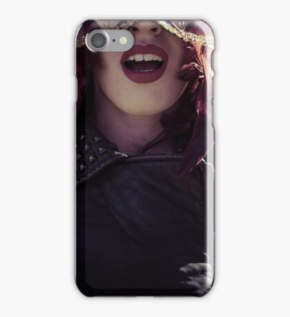 Sensual brunette woman with flowing hair and jacket with golden wings iPhone Case/Skin