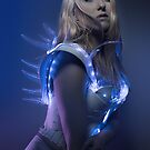 blonde girl with white robot suit and blue LED lights by Fernando Cortés