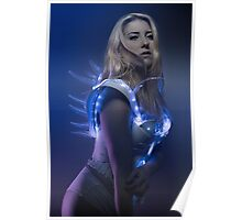 blonde girl with white robot suit and blue LED lights Poster