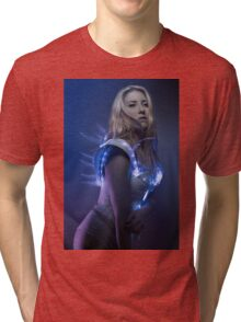 blonde girl with white robot suit and blue LED lights Tri-blend T-Shirt