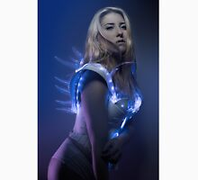 blonde girl with white robot suit and blue LED lights Classic T-Shirt