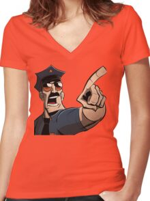 Axe Cop Women's Fitted V-Neck T-Shirt