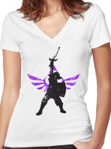 Skyward Stance - Purple Women's Fitted V-Neck T-Shirt