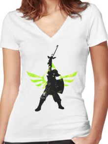 Skyward Stance - Green Women's Fitted V-Neck T-Shirt