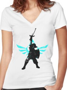 Skyward Stance - Aqua Women's Fitted V-Neck T-Shirt