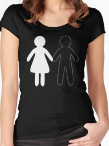 Missing half in chalk (Part I - boy) Women's Fitted Scoop T-Shirt