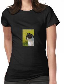 Black & White Cat Portrait Womens Fitted T-Shirt