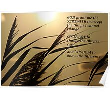 Serenity Prayer With Sunset Grass Poster