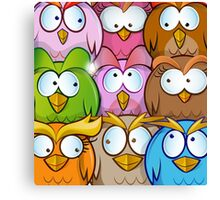 funny owl cartoon background Canvas Print