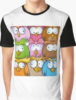 funny owl cartoon background Graphic T-Shirt