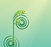 Chamouflaged green Chameleon lizard by Diana Hlevnjak