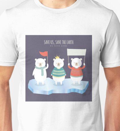 Save earth polar bears Unisex T-Shirt