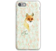 Orange white watercolor hand painted fox floral  iPhone Case/Skin