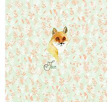 Orange white watercolor hand painted fox floral  Photographic Print