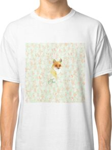 Orange white watercolor hand painted fox floral  Classic T-Shirt
