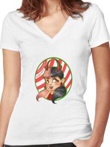 X-mas Melanie Women's Fitted V-Neck T-Shirt