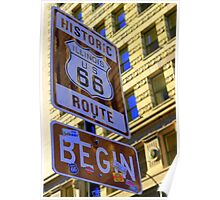 Historic Route 66 begins Poster