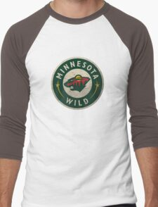 Minnesota Wild Bear Round Men's Baseball ¾ T-Shirt