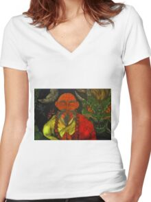 """Dragon Style"" Women's Fitted V-Neck T-Shirt"