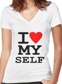 Parody, satire, humour, I heart MY self Women's Fitted V-Neck T-Shirt