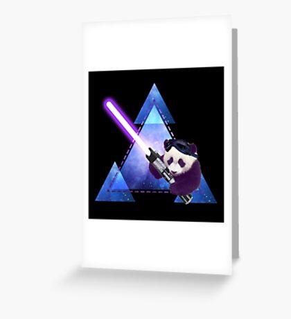 Galactic Panda With Lightsaber Greeting Card