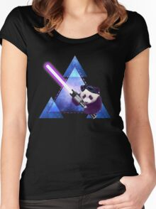 Galactic Panda With Lightsaber Women's Fitted Scoop T-Shirt