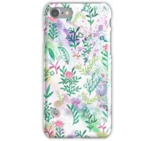 Hand painte pink green watercolor floral iPhone Case/Skin