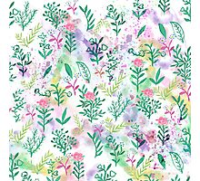 Hand painte pink green watercolor floral Photographic Print