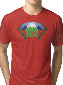 NZ New Zealand mountains distressed version Tri-blend T-Shirt